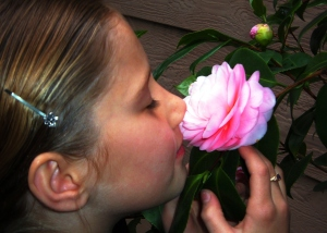 One of my daughter's quieter moments in the garden