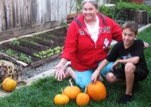 The Fall garden - My youngest son and his mom