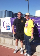 Team captain, Margaret Kolbenschlag, and me on the track at Stockton  Relay